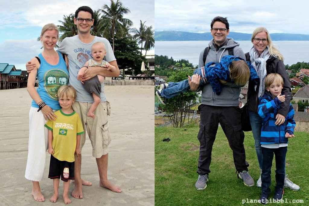 Familie Hibbel im Februar 2012 in Thailand und im Juli 2015 in Norwegen. Zwischen diesen beiden Fotos liegen 3 1/2 Blogjahre und viele intensive Familienreisen.